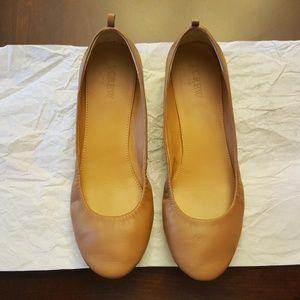 J.Crew Leather Ballet Flats Beige 9 Tan